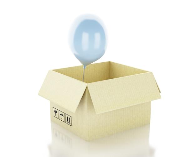 3d ilustracja. pudełko z balonem poza pudełkiem. myślenie poza polem koncepcyjnym.