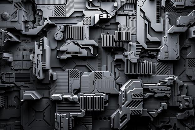 3d ilustracja realistycznego modelu robota lub czarnej cyber zbroi. sprzęt zbliżeniowy do wydobywania krypto-bitcoinów; eter. karty wideo; płyty główne