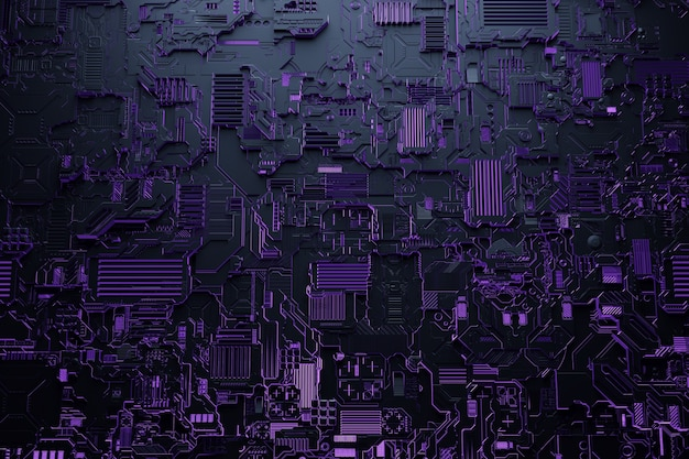 3d ilustracja realistycznego modelu robota lub fioletowej zbroi cyber. sprzęt zbliżeniowy do wydobywania krypto-bitcoinów; eter. karty wideo; płyty główne