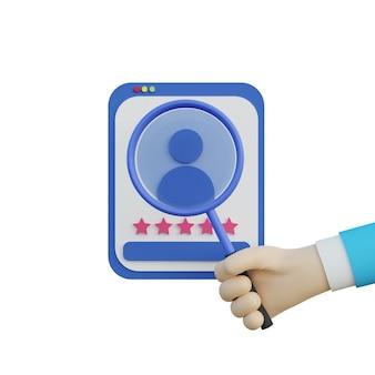 3d ilustracja ręka trzymająca szkło powiększające i szukająca kandydata do pracy na białym tle