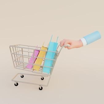 3d ilustracja ręki pchającej wózek na zakupy