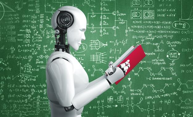 3d ilustracja robota humanoidalnego czytającego książkę i rozwiązującego matematykę