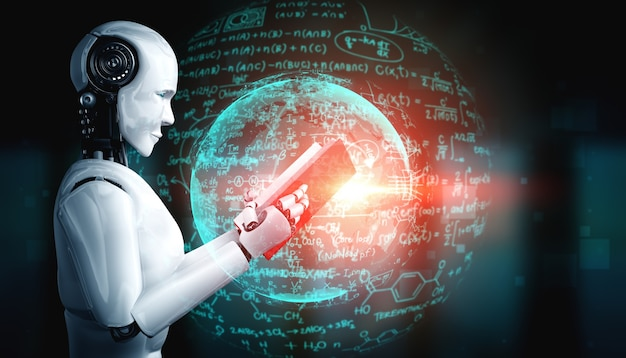 3d ilustracja robota humanoidalnego czytania książki i rozwiązywania matematyki