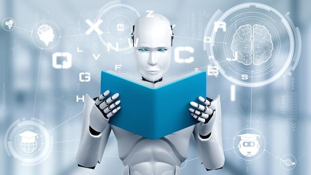 3d ilustracja robota humanoidalnego czytania książki
