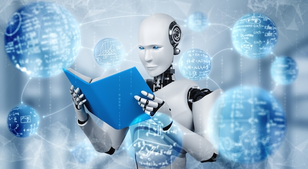 3d ilustracja robota humanoidalnego do czytania książki
