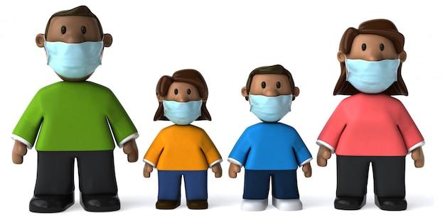 3d ilustracja rodziny z maską