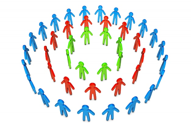 3d ilustracja różni przyjaciół okręgi stoi wpólnie