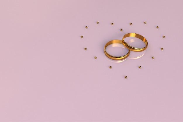 3d ilustracja różowe tło z dwoma pierścieniami i sercem złożonym ze złotych kulek walentynki