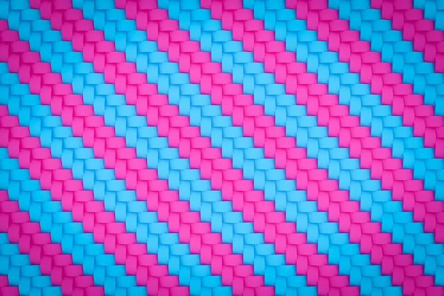 3d ilustracja różowy i niebieski wzór w geometrycznym stylu ozdobnym