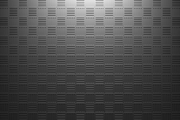 3d ilustracja rzędów czarnych kwadratów zestaw kostek na monochromatycznym tle wzór g