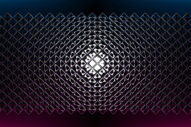 3d ilustracja rzędów czarnych wielokątów, kwadratowych. wzór równoległoboku.