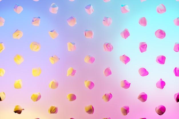 3d ilustracja rzędów niezwykłych postaci latających pod niebiesko-różowym neonowym kolorem. wzór kształtu. tło geometrii technologii
