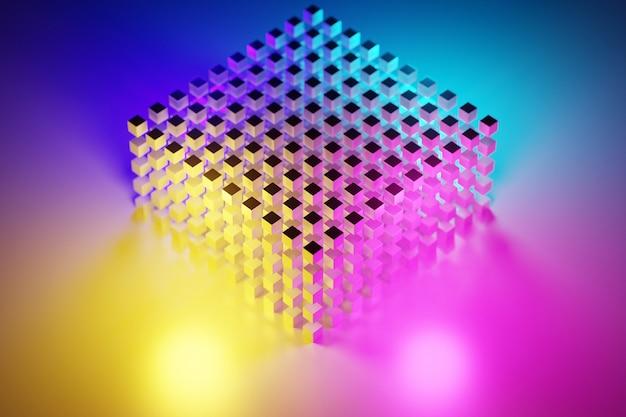 3d ilustracja rzędów różowego sześcianu. zestaw kwadratów na tle monochromatycznym, wzór. tło geometrii