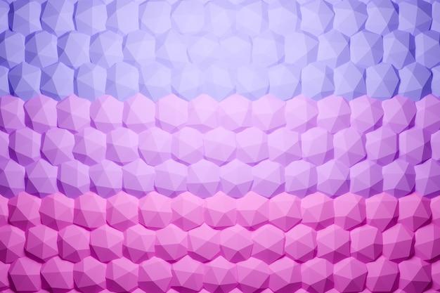 3d ilustracja rzędów różowych wielokątów. wzór równoległoboku. tło geometrii technologii