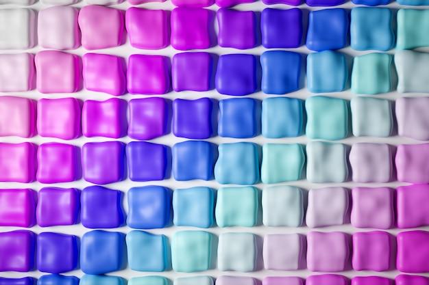 3d ilustracją rzędów wielobarwnej gumy do żucia w kolorach gradientu