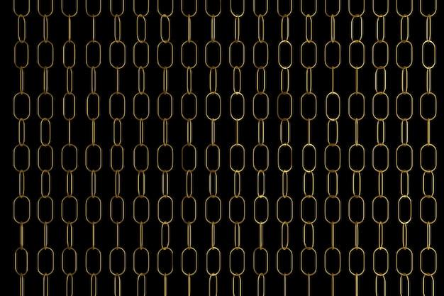 3d ilustracja rzędów złotych metalowych łańcuchów. zestaw łańcuchów na czarnym tle.