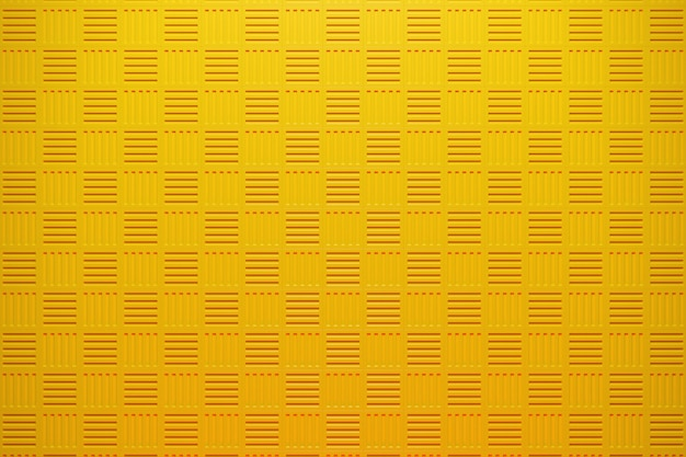 3d ilustracja rzędów żółtych kwadratów zestaw kostek na monochromie