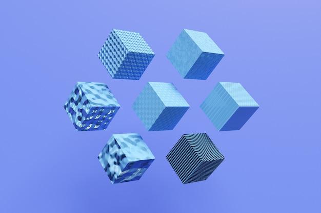 3d ilustracja rzędy niebieskich sześcianów. wzór równoległoboku. tło geometrii technologii