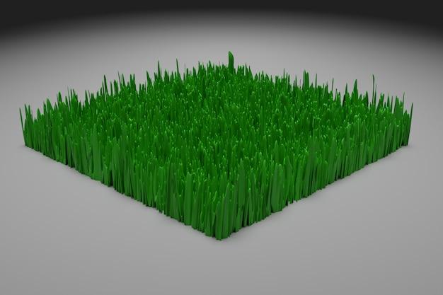 3d ilustracją schematycznego uproszczonego kawałka ziemi z zieloną trawą w sekcji