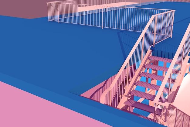 3d ilustracja schody i konstrukcja balustrady