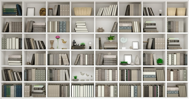 3d ilustracja ściany drewniane tło z klasycznymi książkami bibliotecznymi