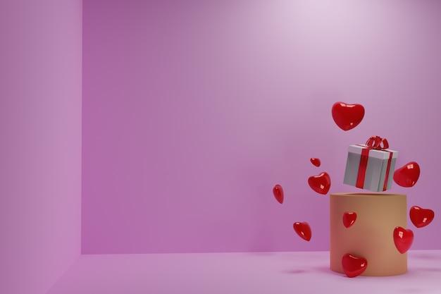 3d ilustracja serca i prezenty na dzień matki i walentynki