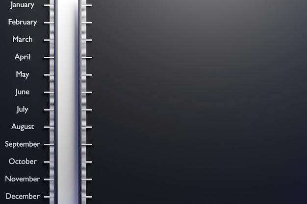 3d ilustracja skali pionowej z nazwami miesięcy