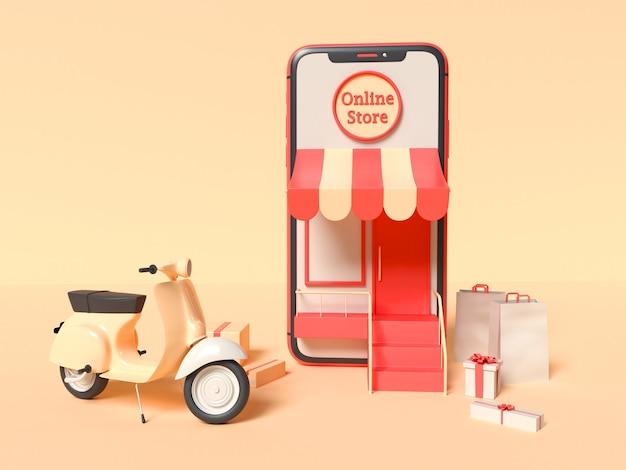 3d ilustracja smartfona ze skuterem dostawczym, pudełkami i papierowymi torbami