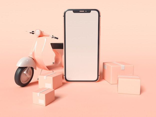 3d ilustracja smartfona ze skuterem dostawy i pudełkami