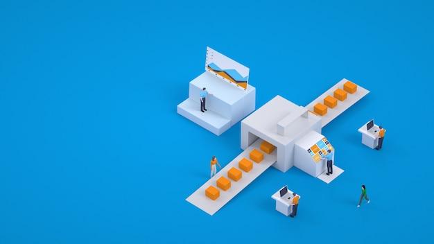 3d ilustracja sortowania paczek. system zamówień i ich sortowanie w poczcie. punkt odbioru. grafika, modele 3d