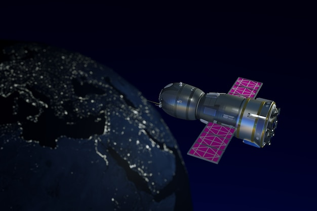 3d ilustracja stacji kosmicznej w przestrzeni kosmicznej. widok ze szczytu stacji i ziemi. świecąca ziemia ze światłami. orbitująca stacja kosmiczna na ciemnym tle z planetą. grafika 3d