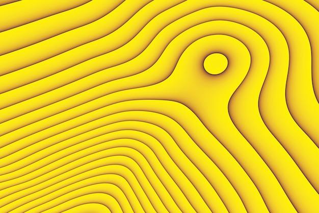 3d ilustracja stereo żółty pasek. geometryczne paski podobne do fal.