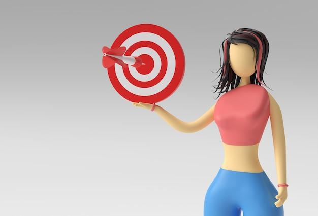 3d ilustracja stojąca kobieta trzyma target marketing concept, 3d render design.