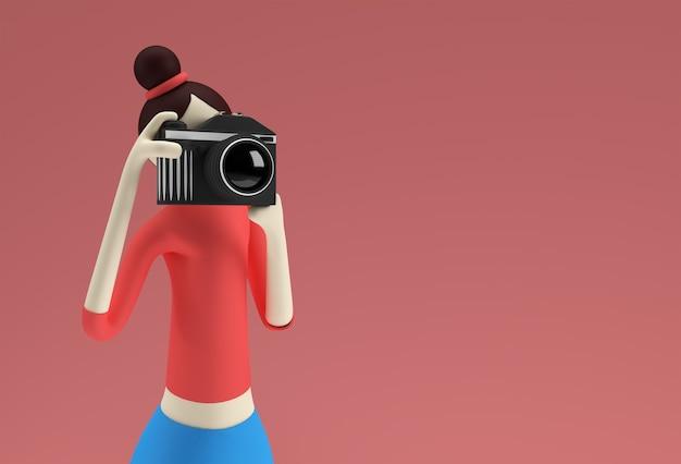 3d Ilustracja Stojącej Kobiety Kreskówka Trzymając Aparat Robienia Zdjęć, 3d Renderowania Projektu. Premium Zdjęcia