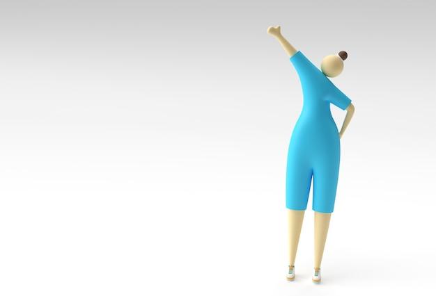 3d Ilustracja Stojącej Kobiety, Projekt 3d Renderowania. Premium Zdjęcia