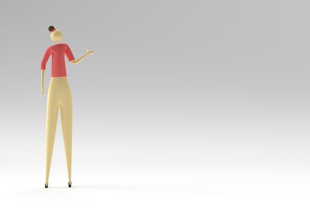 3d ilustracja stojącej kobiety, projekt 3d renderowania.