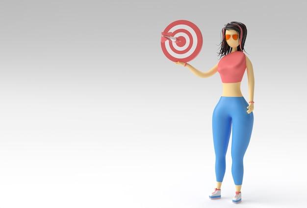 3d ilustracja stojącej kobiety trzymającej koncepcję marketingu docelowego, 3d renderowania.