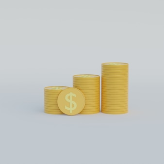 3d ilustracja stos monet ze znakiem dolara na białym tle
