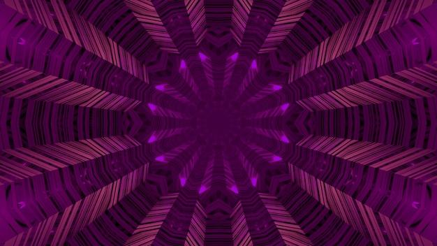 3d ilustracja streszczenia okrągłego niekończącego się korytarza z liniami świecącymi fioletowym oświetleniem neonowym