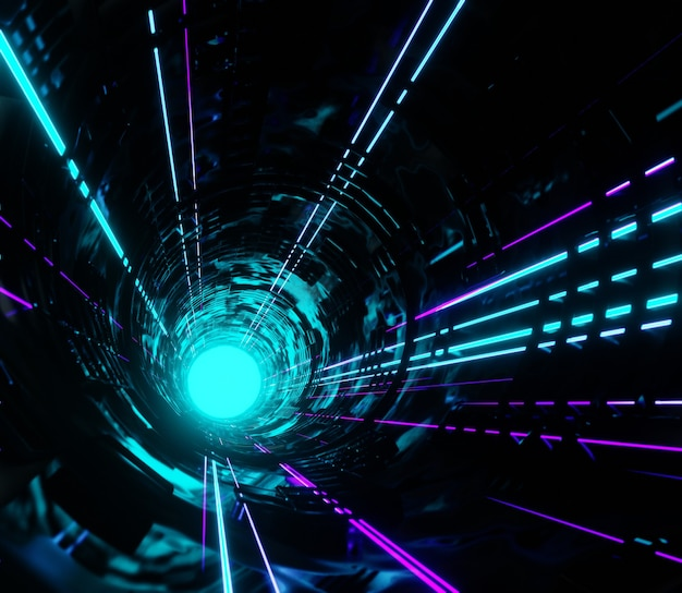 3d ilustracja streszczenie render nowoczesne światło neon