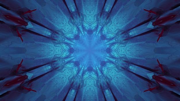 3d ilustracja streszczenie teksturowanej niebieskiego świecącego tunelu neonowego o geometrycznych kształtach