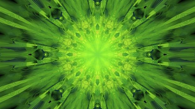 3d ilustracja streszczenie teksturowanej tunelu z geometrycznymi kształtami i liniami świecącymi zielonym światłem