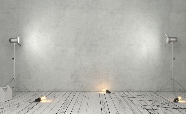 3d ilustracja studio fotograficzne z szarym betonowym tłem i studyjnymi światłami