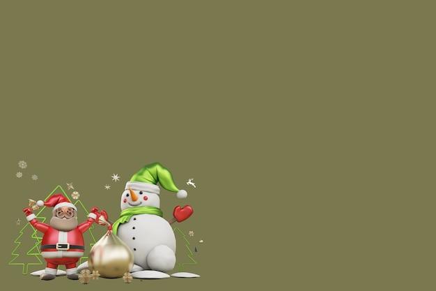 3d ilustracja święty mikołaj i prezent na boże narodzenie