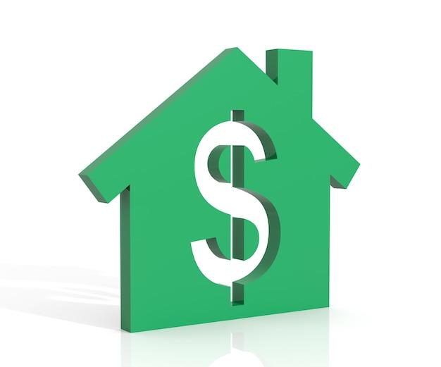 3d ilustracja symbol domu i dolara na białym tle
