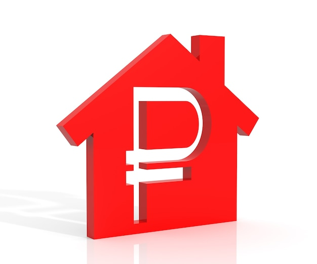 3d ilustracja symbol domu i rubla na białym tle