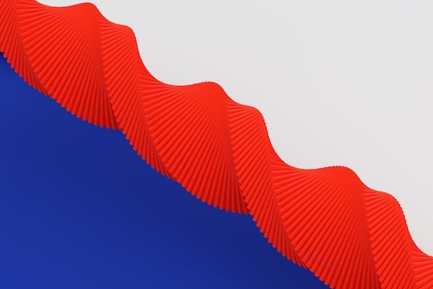 3d ilustracja taśmy stereo w różnych kolorach. uproszczona czerwona linia dna