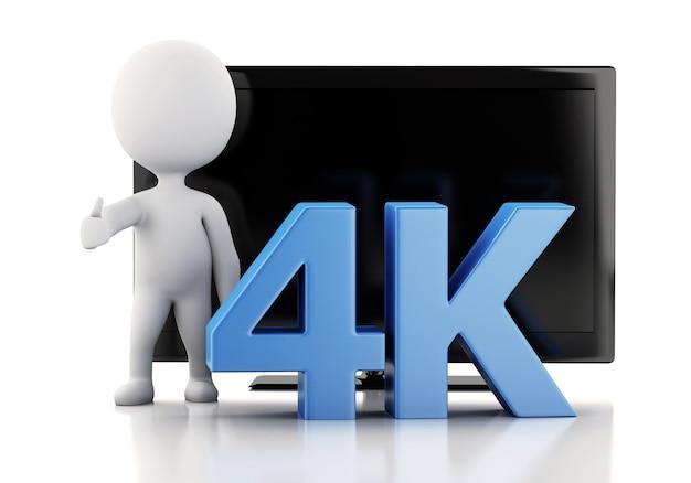 3d ilustracja. telewizor 4k ultrahd. koncepcja technologii.