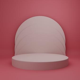 3d ilustracja tło etap prosty minimalistyczny czerwony streszczenie studio