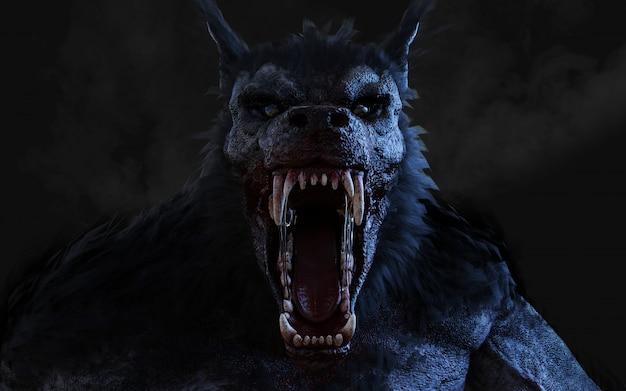 3d ilustracja wilkołak na ciemnym tle z ścinek ścieżką.